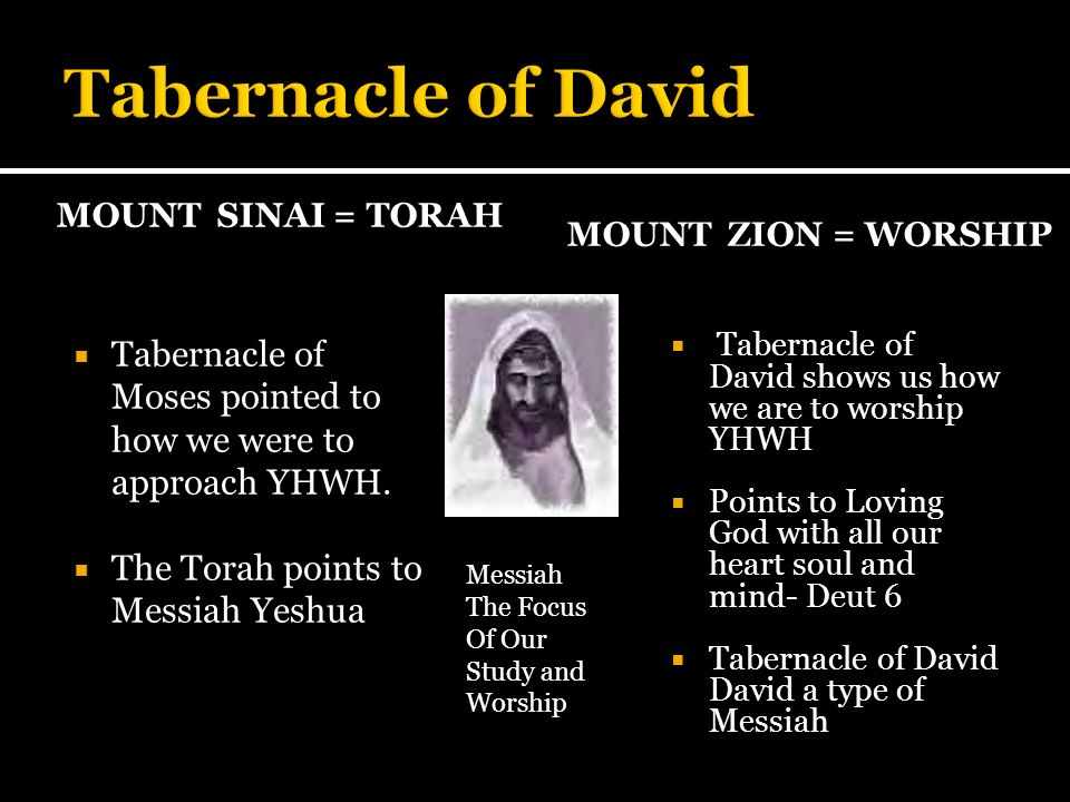Tabernacle of David Mount sinai = Torah. Mount zion = Worship. Tabernacle of Moses pointed to how we were to approach YHWH.