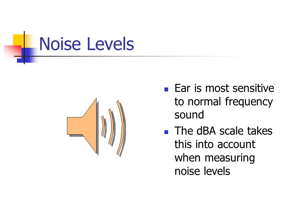 Noise Levels Ear is most sensitive to normal frequency sound