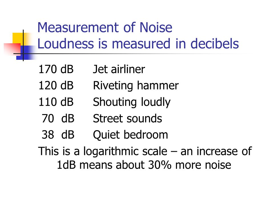 Measurement of Noise Loudness is measured in decibels