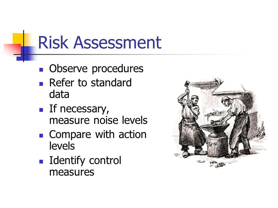 Risk Assessment Observe procedures Refer to standard data