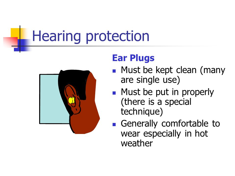Hearing protection Ear Plugs Must be kept clean (many are single use)
