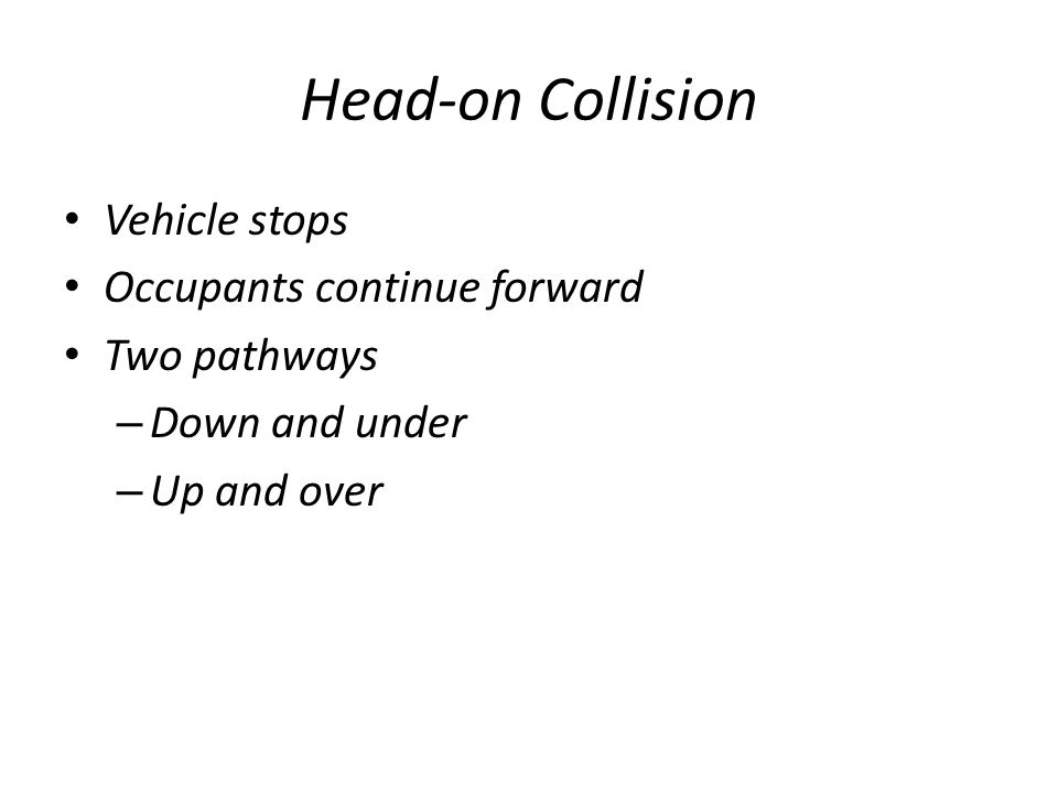 Head-on Collision Vehicle stops Occupants continue forward