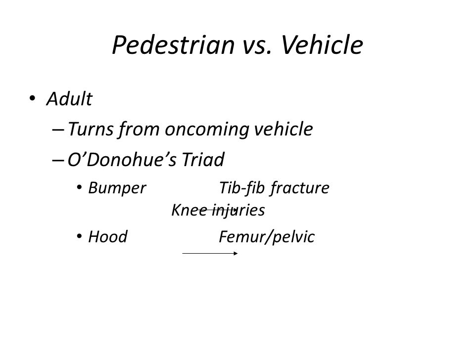 Pedestrian vs. Vehicle Adult Turns from oncoming vehicle