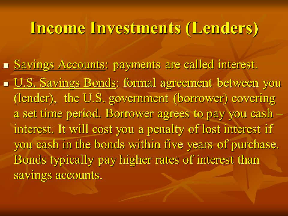 Income Investments (Lenders)