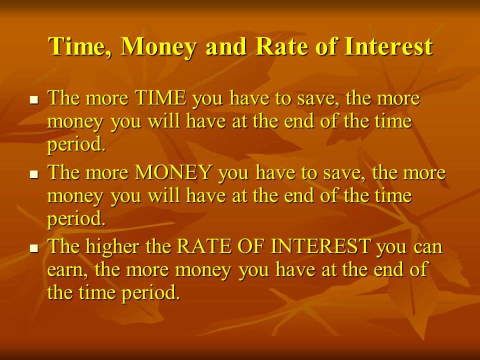 Time, Money and Rate of Interest