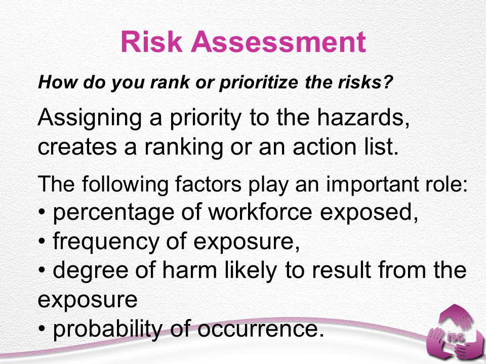 Risk Assessment Assigning a priority to the hazards,