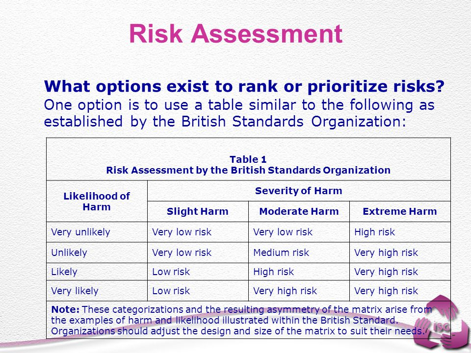 Risk Assessment by the British Standards Organization