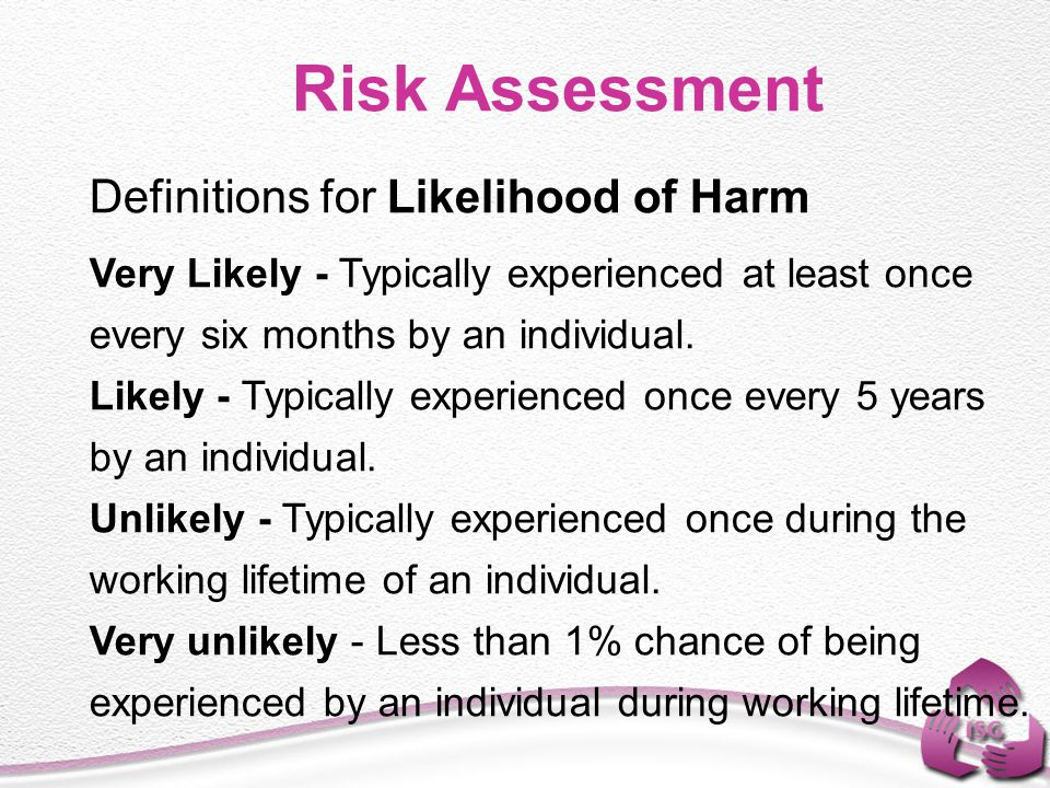 Risk Assessment Definitions for Likelihood of Harm