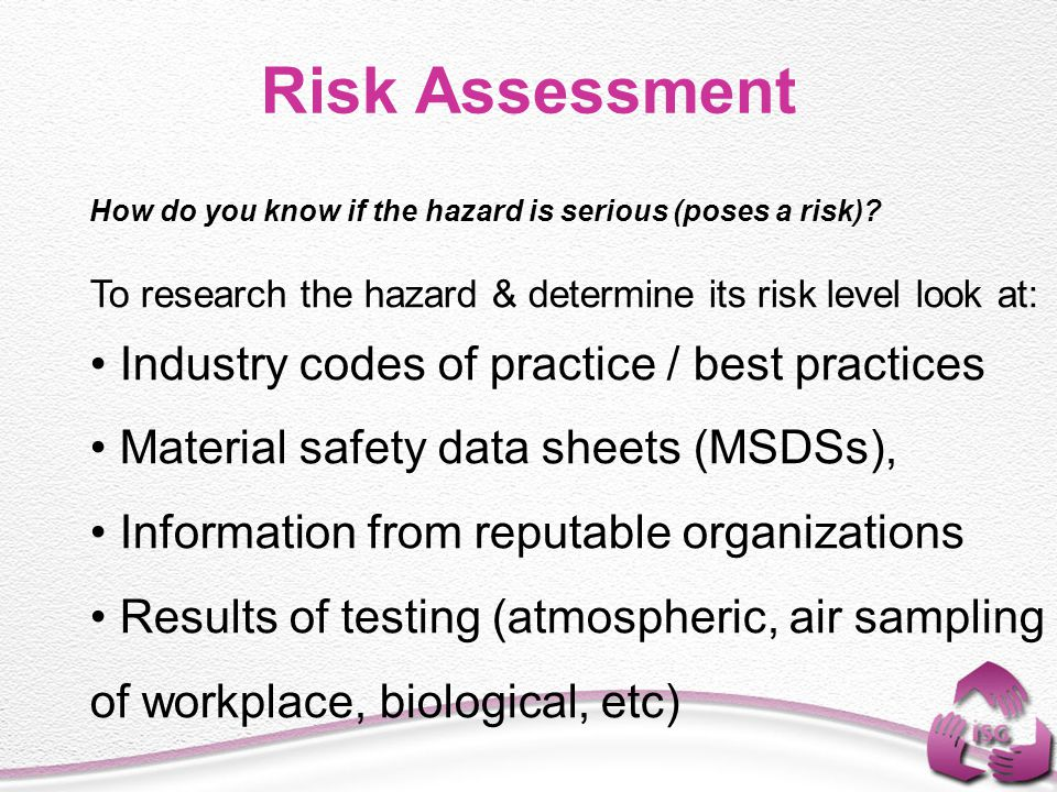 Risk Assessment Industry codes of practice / best practices