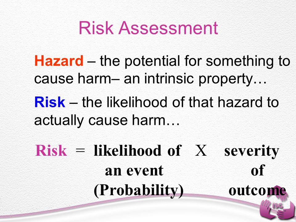 Risk Assessment Risk = likelihood of an event (Probability) X