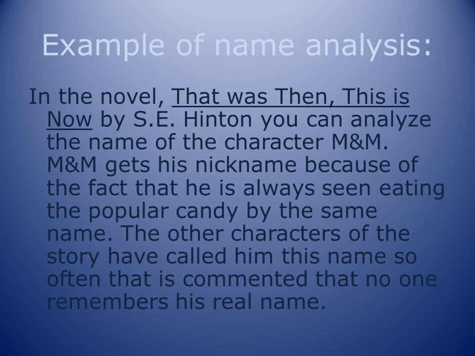 Example of name analysis: