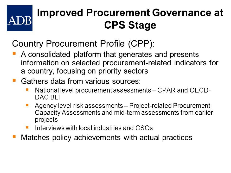 Improved Procurement Governance at CPS Stage