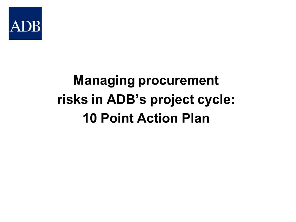 risks in ADB's project cycle: