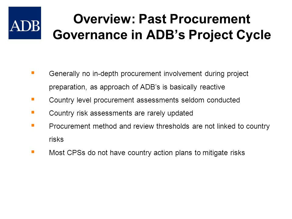 Overview: Past Procurement Governance in ADB's Project Cycle