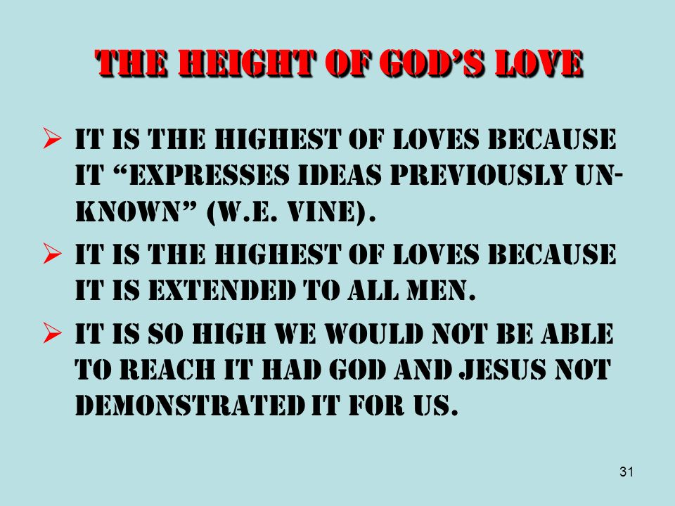 The Height of God's Love