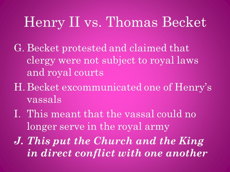 Henry II vs. Thomas Becket