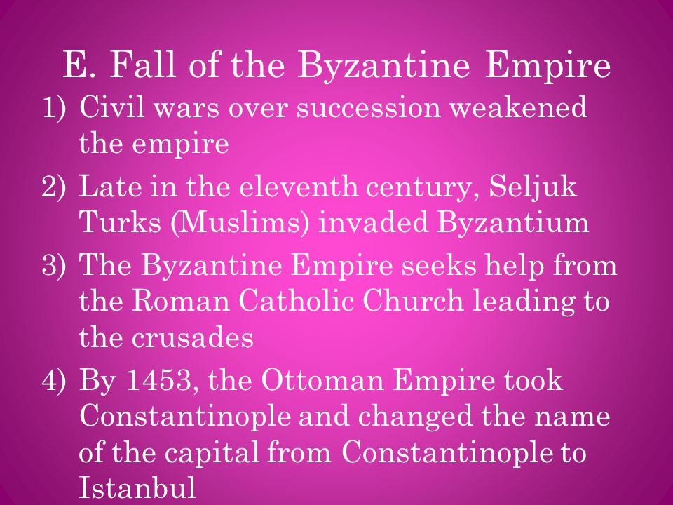 E. Fall of the Byzantine Empire