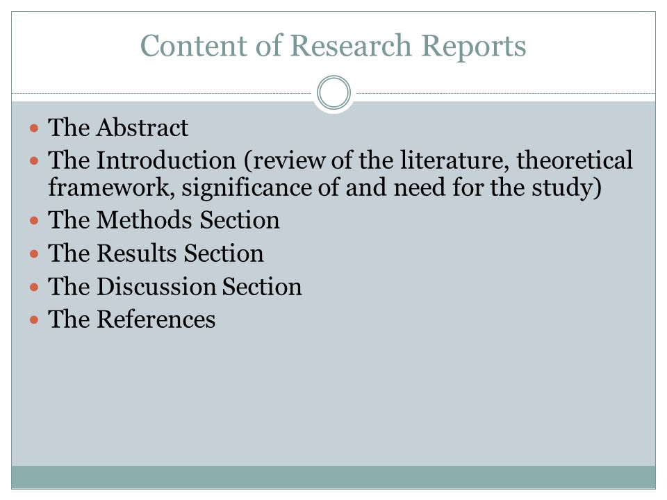 Content of Research Reports