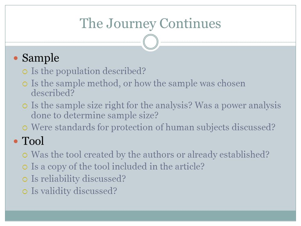 The Journey Continues Sample Tool Is the population described