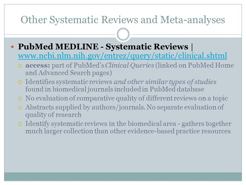 Other Systematic Reviews and Meta-analyses