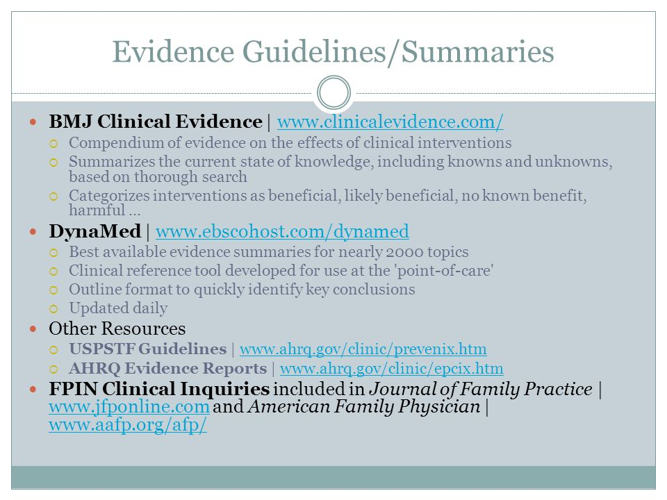 Evidence Guidelines/Summaries
