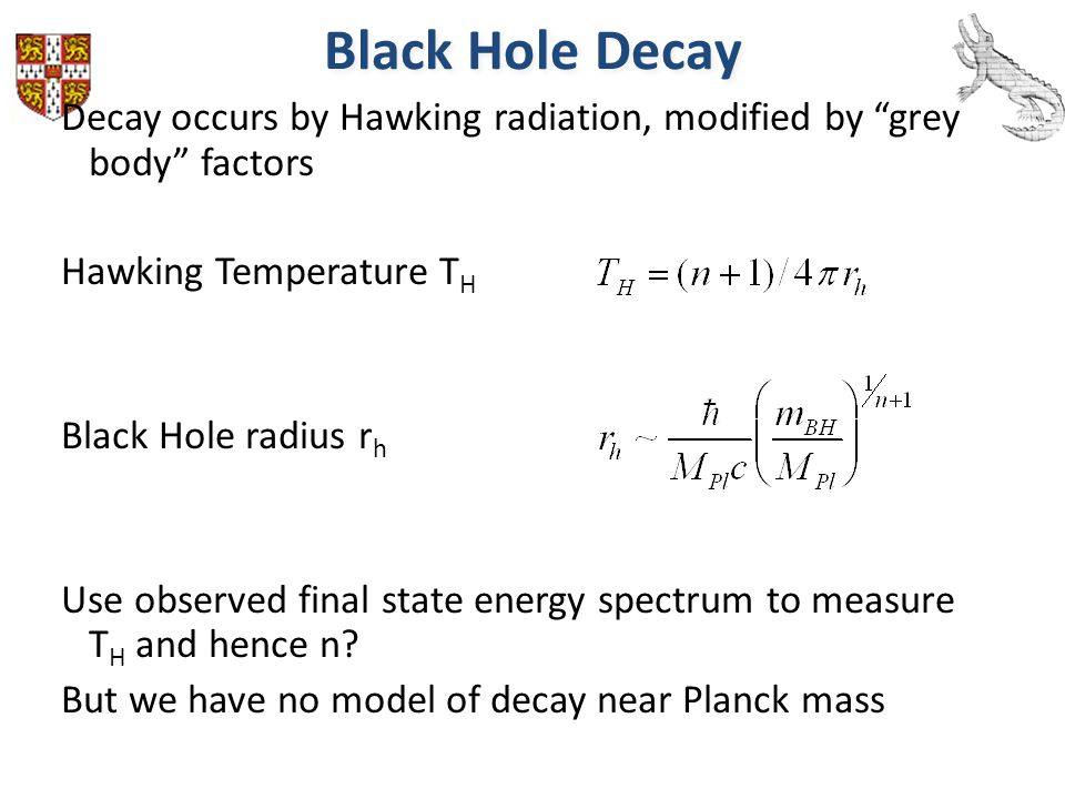 Black Hole Decay Decay occurs by Hawking radiation, modified by grey body factors. Hawking Temperature TH.