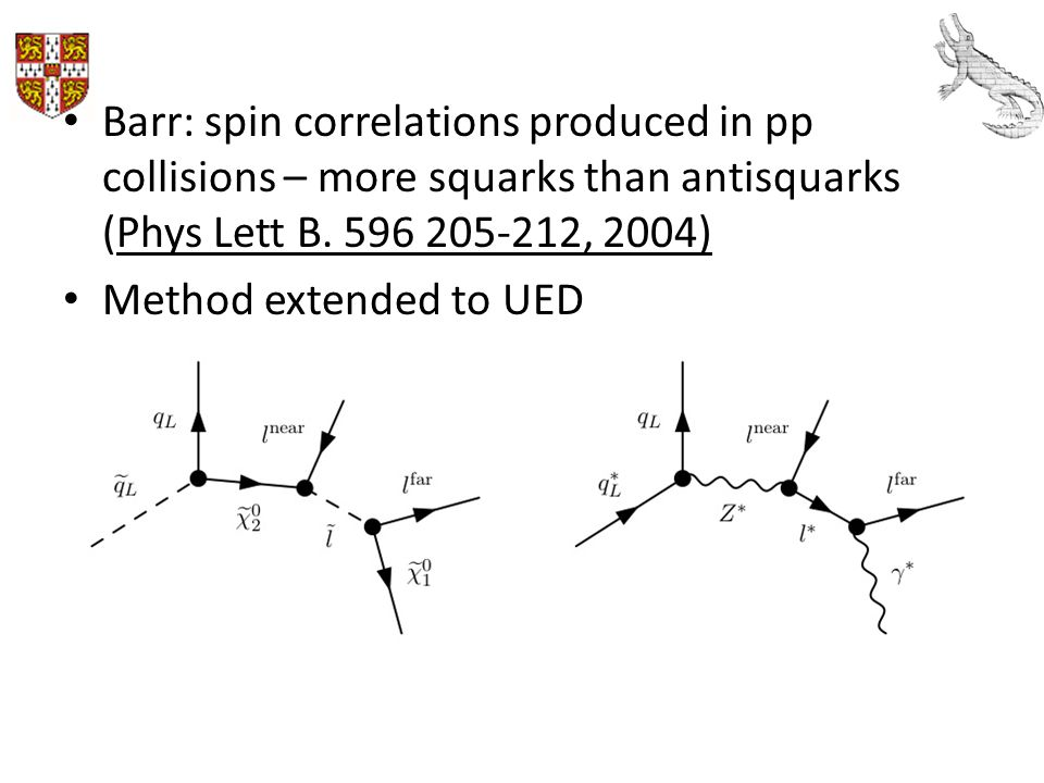 Barr: spin correlations produced in pp collisions – more squarks than antisquarks (Phys Lett B. 596 205-212, 2004)