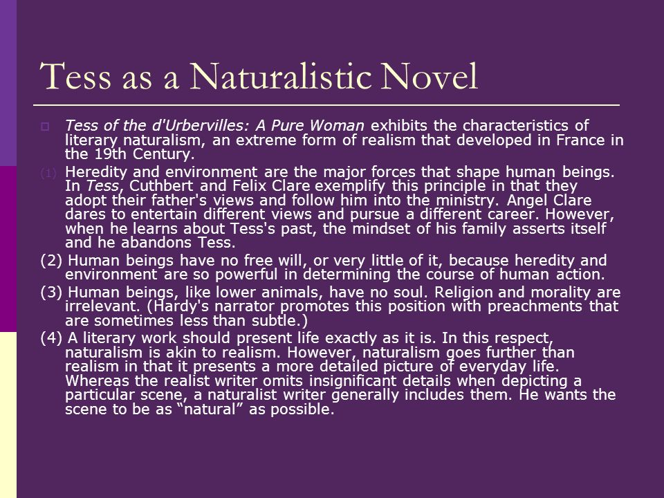 Tess as a Naturalistic Novel