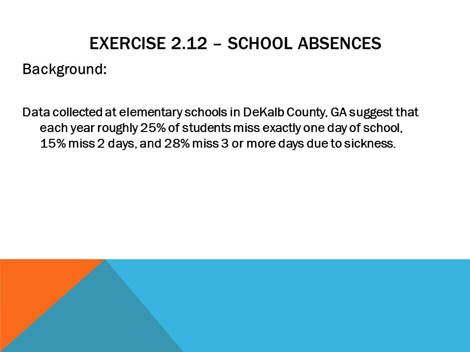Exercise 2.12 – School Absences