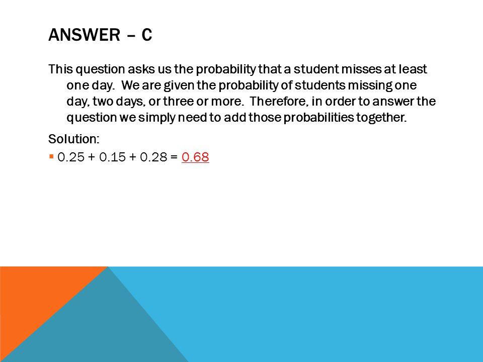 Answer – c