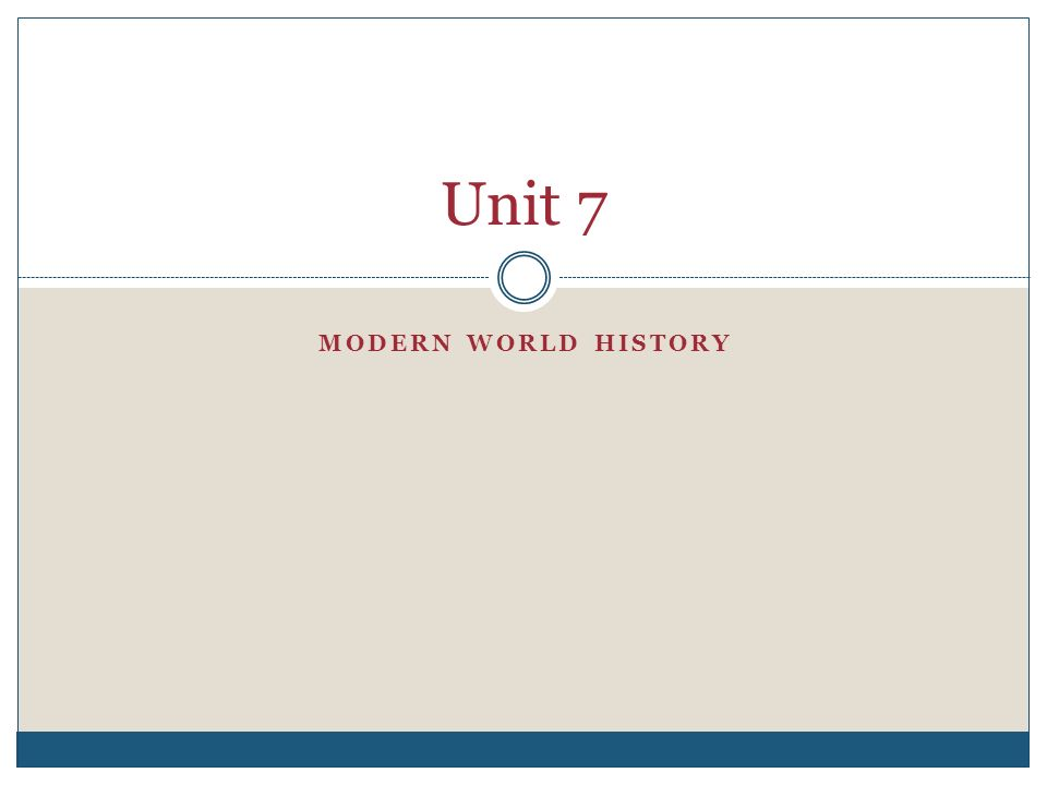Unit 7 MODERN WORLD HISTORY