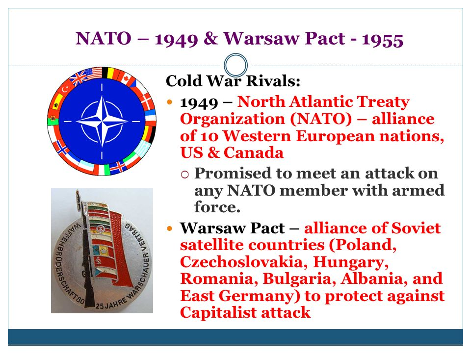 NATO – 1949 & Warsaw Pact - 1955 Cold War Rivals: