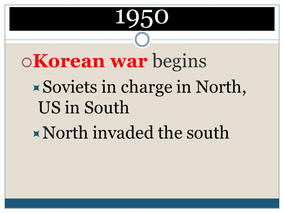 1950 Korean war begins Soviets in charge in North, US in South