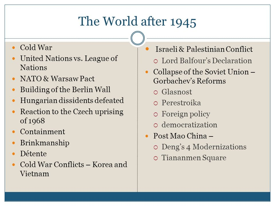 The World after 1945 Israeli & Palestinian Conflict Cold War