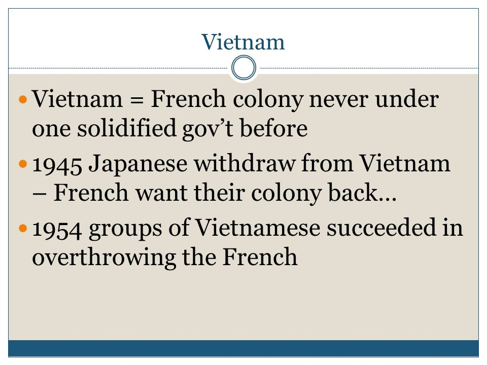 Vietnam = French colony never under one solidified gov't before