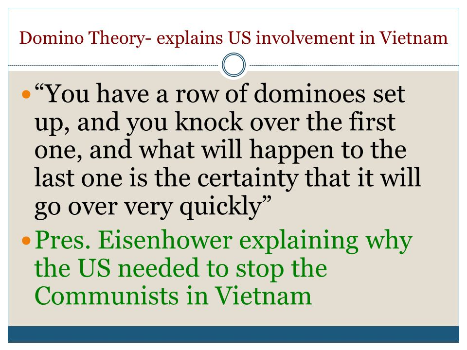 Domino Theory- explains US involvement in Vietnam