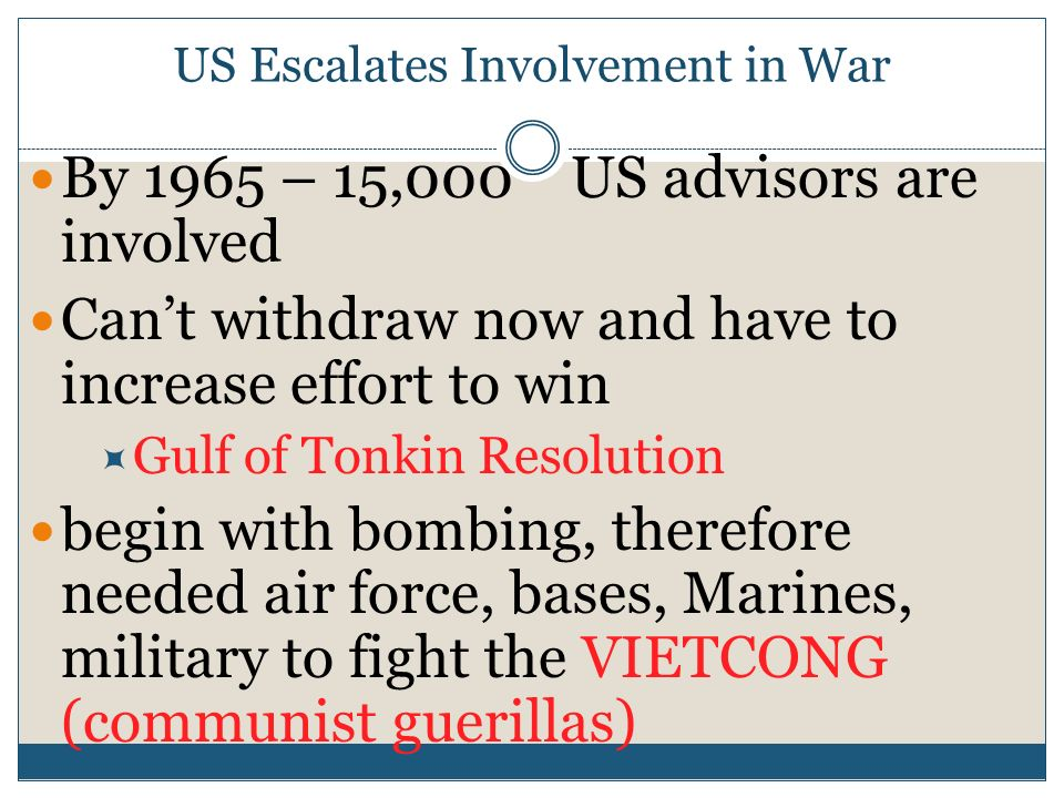 US Escalates Involvement in War