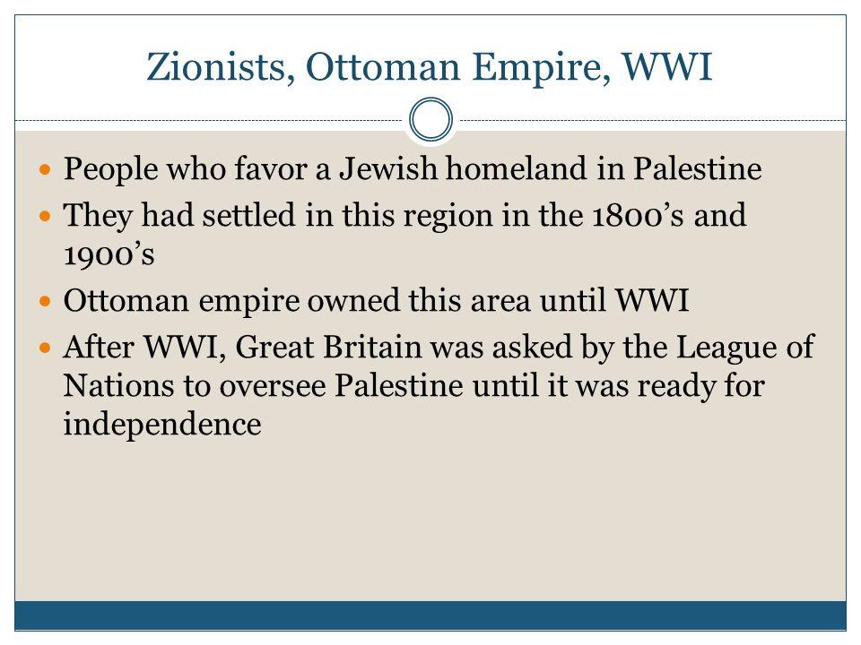 Zionists, Ottoman Empire, WWI