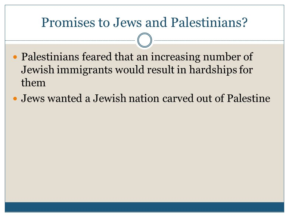 Promises to Jews and Palestinians