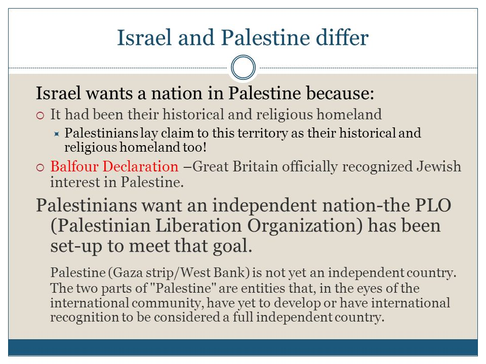 Israel and Palestine differ