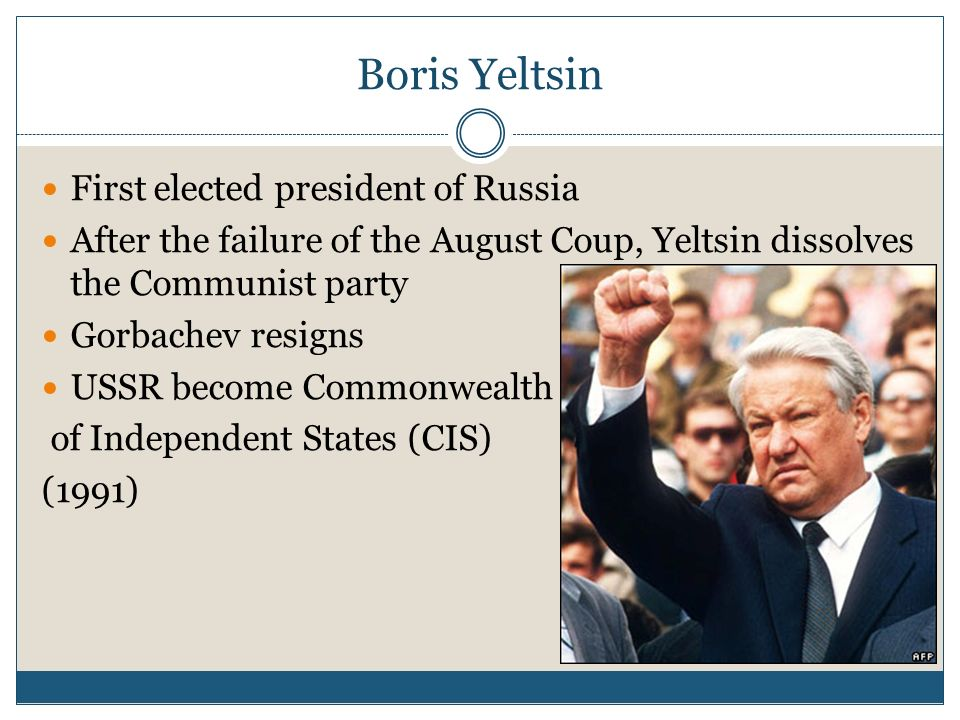 Boris Yeltsin First elected president of Russia