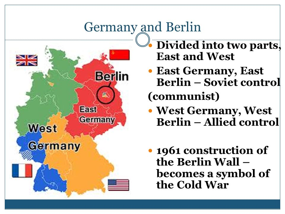 Germany and Berlin Divided into two parts, East and West