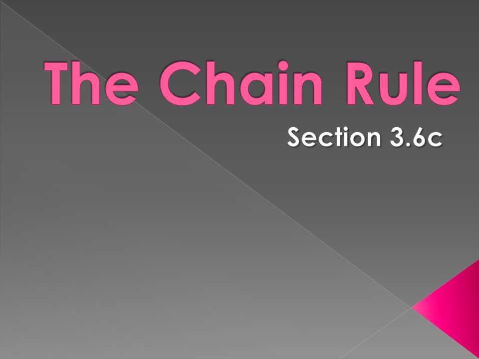 The Chain Rule Section 3.6c