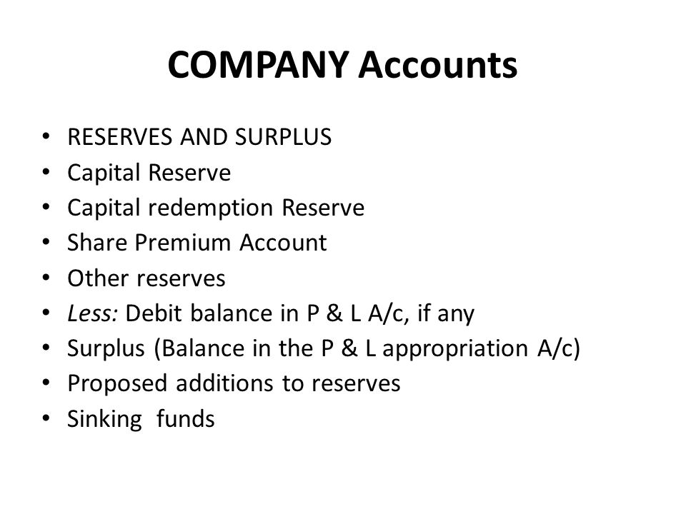 COMPANY Accounts RESERVES AND SURPLUS Capital Reserve