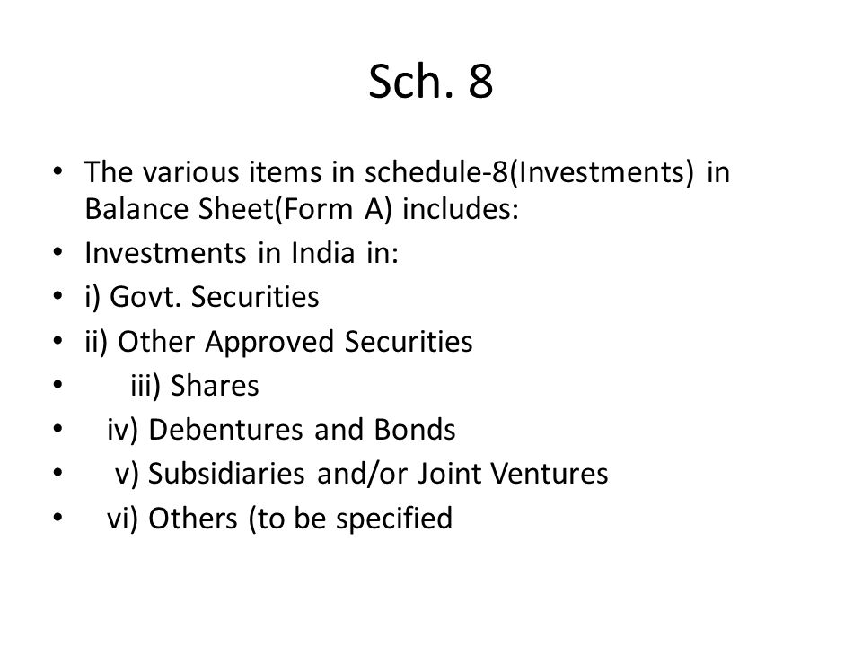 Sch. 8 The various items in schedule-8(Investments) in Balance Sheet(Form A) includes: Investments in India in: