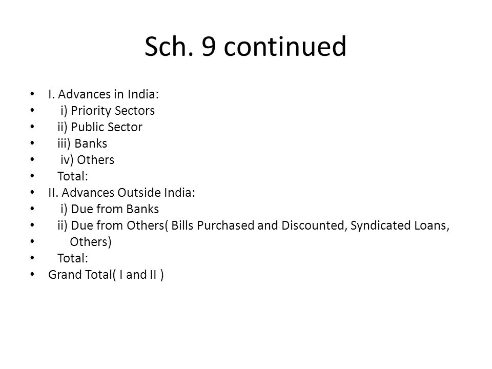 Sch. 9 continued I. Advances in India: i) Priority Sectors