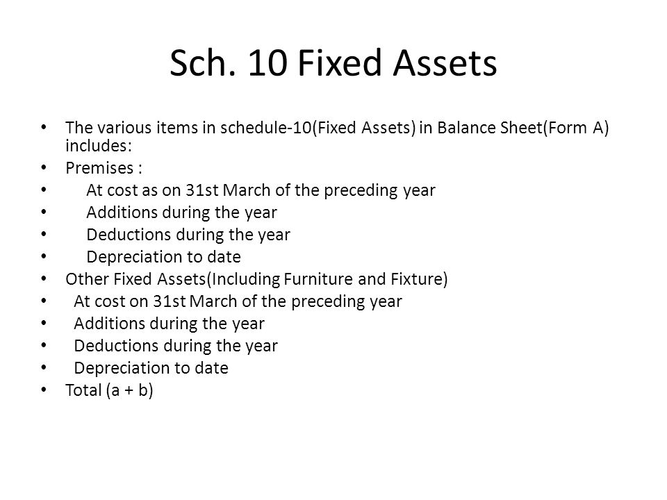 Sch. 10 Fixed Assets The various items in schedule-10(Fixed Assets) in Balance Sheet(Form A) includes: