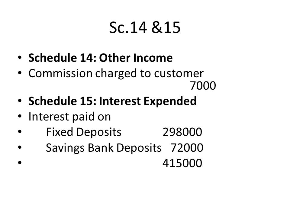 Sc.14 &15 Schedule 14: Other Income