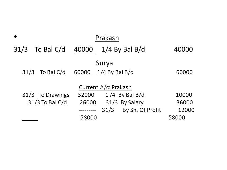 Prakash 31/3 To Bal C/d 40000 1/4 By Bal B/d 40000.