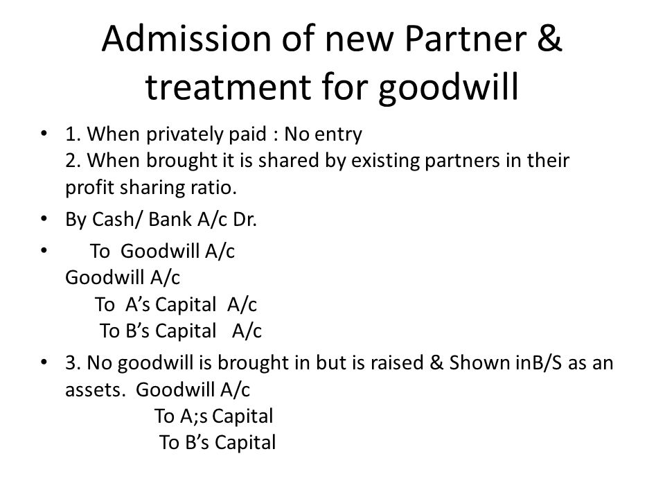 Admission of new Partner & treatment for goodwill